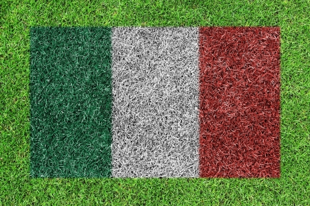 a flag of italy as painting on green grass background photo