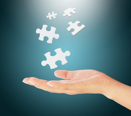 hand holding a puzzle pieces. Stock Photo - 11969688