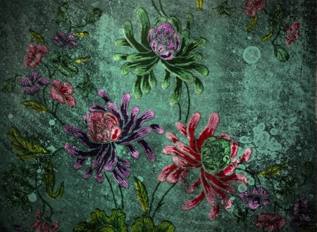 vintage wall with floral background photo