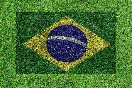 flag of Brazil as a painting on green grass photo