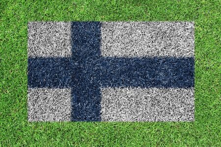Flag of finland as a painting on green grass photo