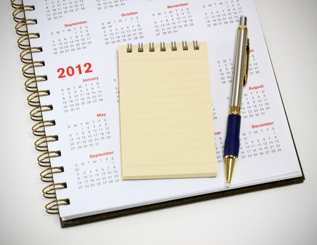 2012 calendar notebook and pen photo