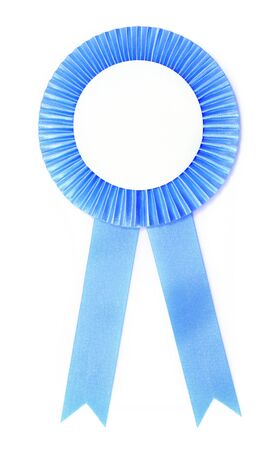 blue ribbon award isolated on white background  photo