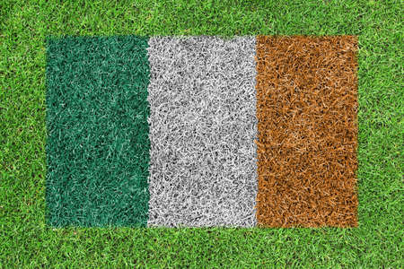 Flag Republic of Ireland as a painting on green grass photo