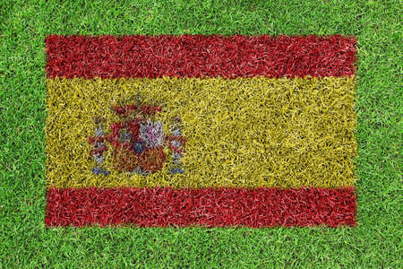 spanish flag: Flag Spain as a painting on green grass Stock Photo