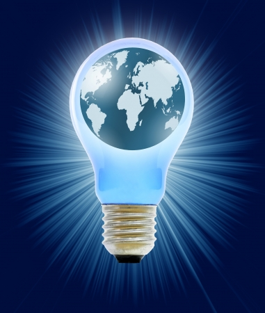 globe in light bulb Stock Photo - 12064174