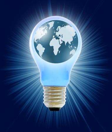 globe in light bulb Stock Photo