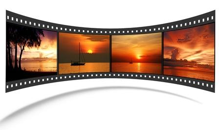 rollo pelicula: Tira de película en 3D con buenas fotos de la escena de Andaman Foto de archivo