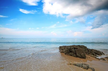 rocks on the beach at Naitorn beach Phuket Thailand photo