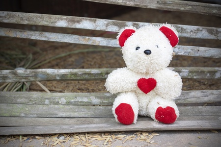 teddy bear with red heart  photo