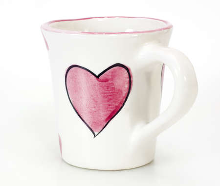 coffeecup: Empty coffee cup paint heart shape on white background