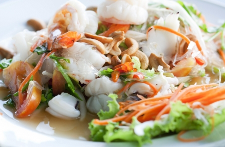 asian foods: Thai spicy seafood salad