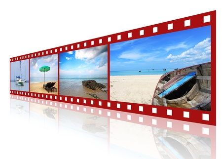 red 3D film strip with nice pictures of andaman scene Stock Photo