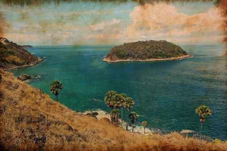 seascape of phuket island on vintage paper photo