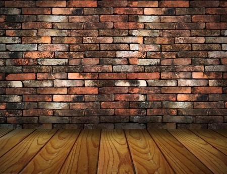 vintage brick wall and wood floor texture interior Stock Photo - 13271869