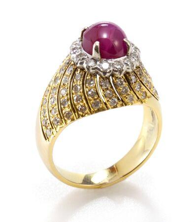 ruby diamond ring Stock Photo