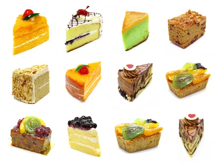 cherry varieties: collection of slices cake
