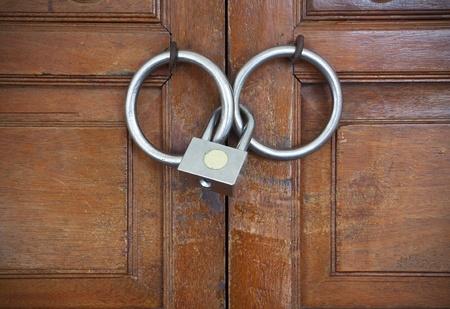 Closed wooden door with metal lock photo