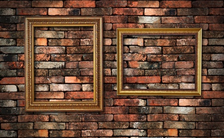 grunge wall and two frames for fill picture in photo