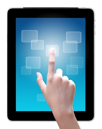 hand is pointing on touch screen , tablet pc Stock Photo - 13565428
