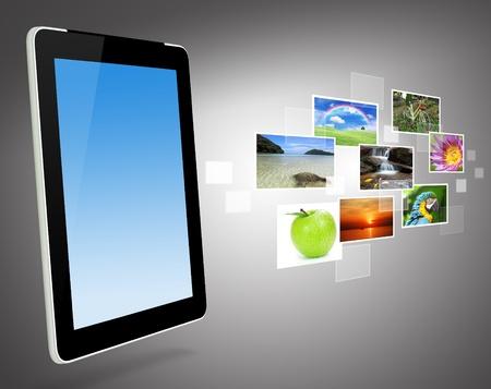 グローバル ビジネス、タッチパッド、タブレット PC のコンセプト
