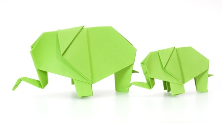 paper folding: green origami elephant