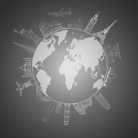 세계 각국의 여행의 개념 드로잉