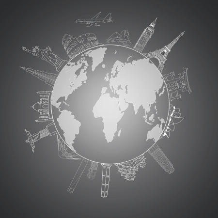 drawing the concept of travel around the world