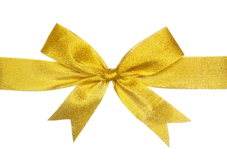 gold gift bow isolated on white  写真素材