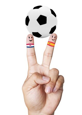 mondial: hand victory with soccer ball concept Crpacia VS Spain