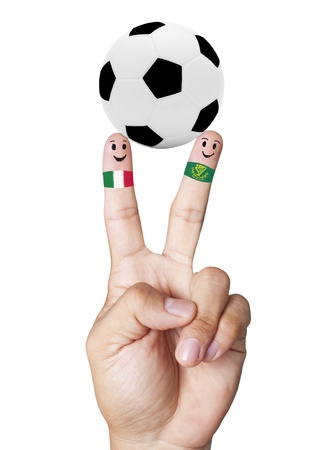 mondial: hand victory with soccer ball concept Italy VS Ireland Stock Photo