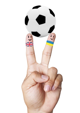 mondial: hand victory with soccer ball concept England VS Ukraine