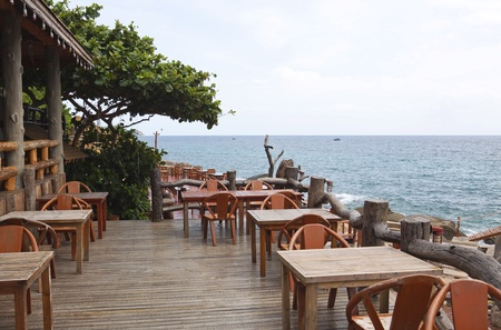 Table with a beautiful sea view   Thailand