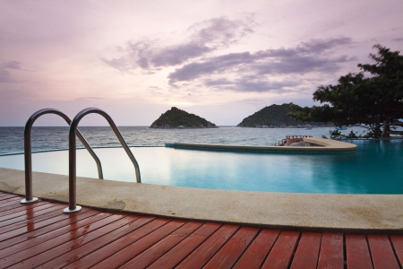 poolside: water pool at koh tao south of thailand