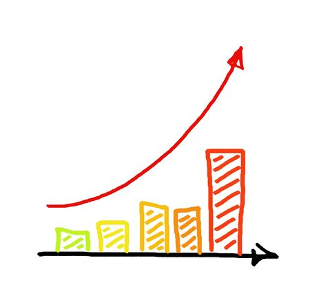 advance: a red arrow business graph hand drawing Stock Photo