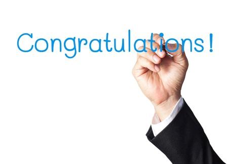 businessman hand writing congratulations on white board Stock Photo - 14231331