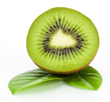 fresh kiwi fruit and leaves isolated on white