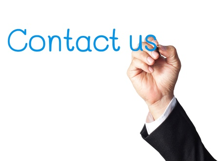 businessman hand writing contact us on whiteboard Stock Photo - 14290221