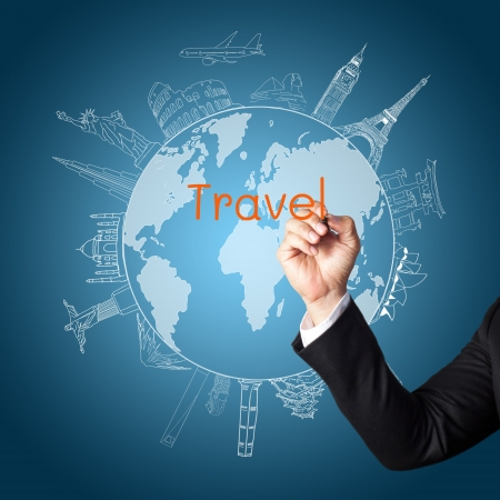business travel: drawing the concept travel around the world