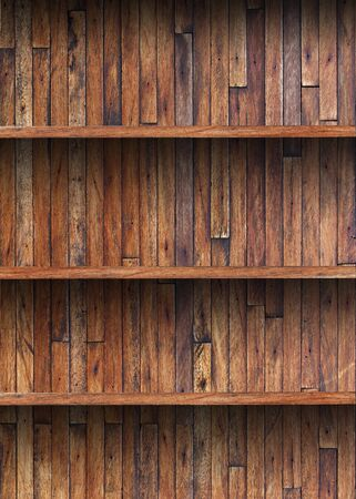 Empty wood shelf on wooden wall photo