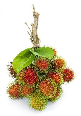 rambutan: asian fruit rambutan on white background  Stock Photo