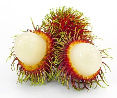 rambutan: Tropical fruit, rambutan on white background Stock Photo