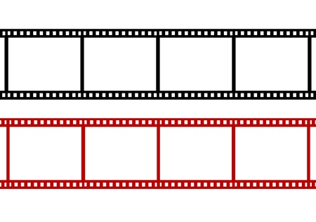 film roll:  two blank red film strip Stock Photo