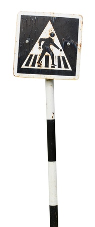 pedestrian cross sign isolated on white  photo