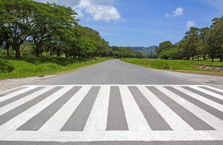 zebra traffic walk way, cross way  with blue sky Stock Photo - 14567157
