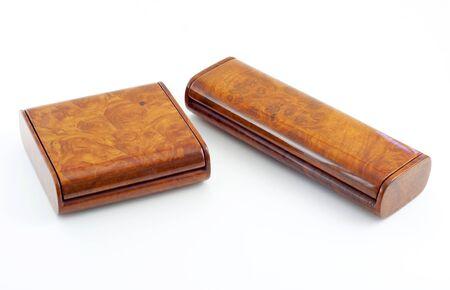 burl wood: wooden box on white background