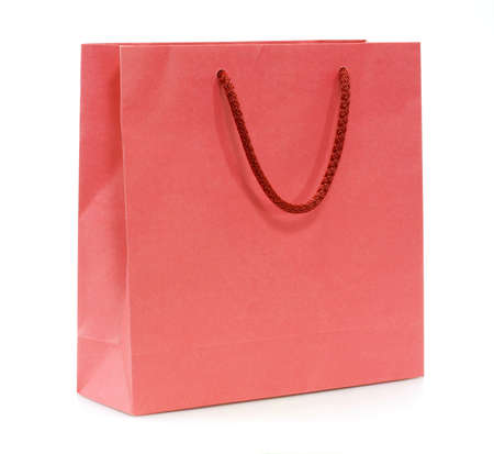 red shopping bag isolated on a white background photo