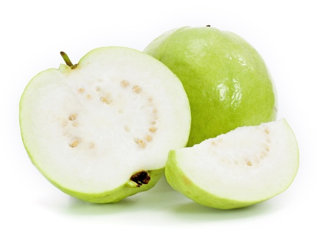 guava: Guavas on white background Stock Photo