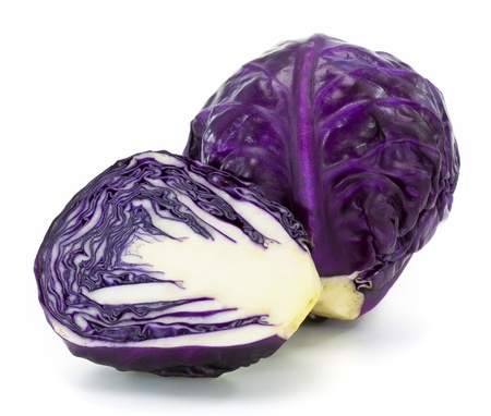 Fresh red cabbage vegetable on white background photo