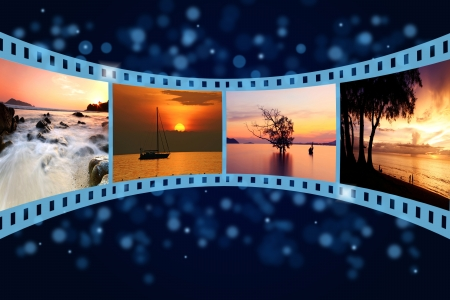 projection: 3D film strip with nice pictures of andaman scene